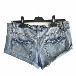 FREE PEOPLE Cut Off Denim Short Rolled Hem Blue 26